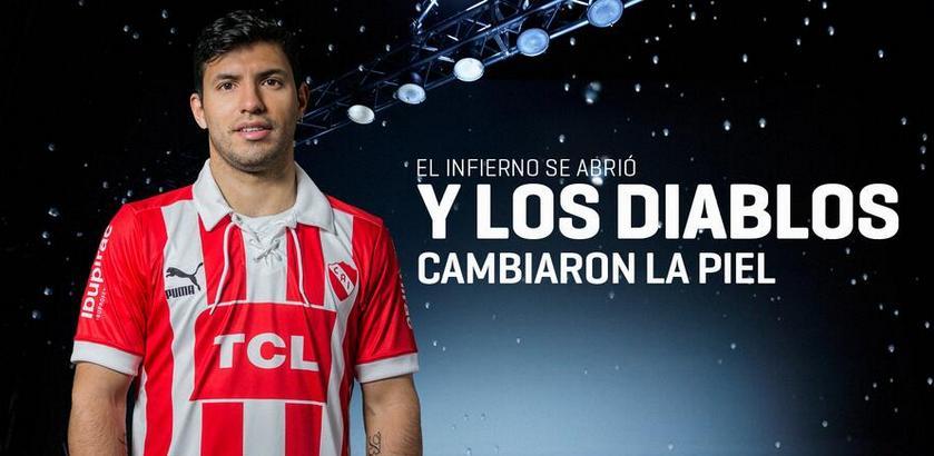 Camiseta-Independiente-albirroja-PUMA-2013-Kun-Aguero