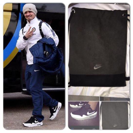 """¡Camino a Sassuolo! #ForzaInter Nuevos #AirMax con una linda bolsa. ¡Gracias Nike! :)"" (Foto: Facebook)"
